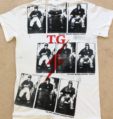 "Throbbing Gristle - Gary Gilmore Electric Chair  multi prints T-shirt Small 36"" Unisex"