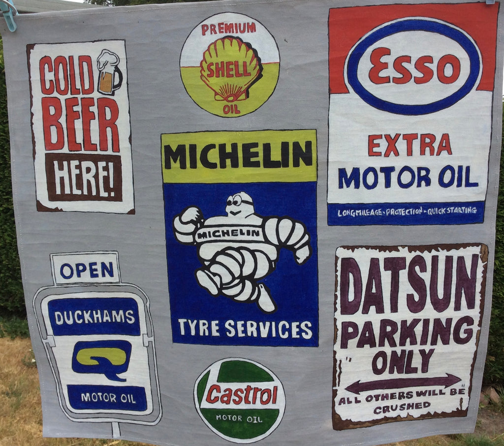 "Gas Petrol Station Advertising Banner Michelin Shell Esso Motor Art Canvas Painting 26""x24"""