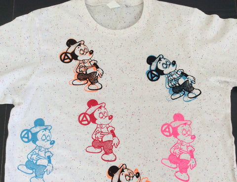 Mickey Mouse Junkie Tshirt Drug Fix multi prints grey fleck tee Medium unisex