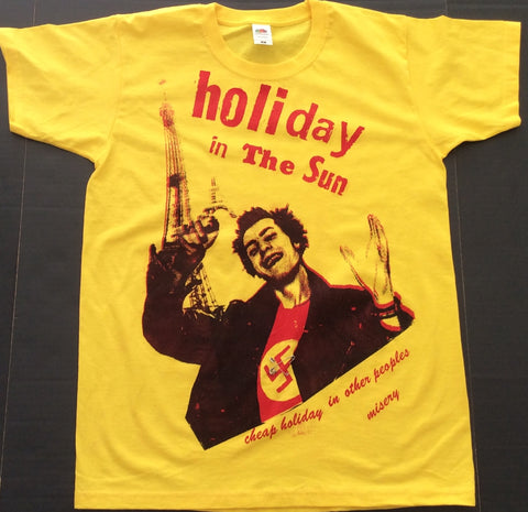 Punk Tshirt SID VICIOUS Holiday in the Sun sarcasm print ADULT Small unisex