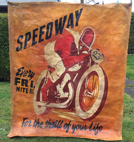 SOLD Vintage Motorbike Racing Banner Speedway Races Advertising Art Poster 6ft x 5ft