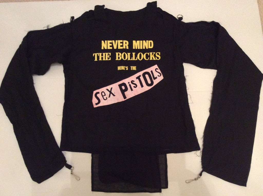 Sex Pistols Bondage Shirt  Never Mind the Bollocks Straight Jacket- Black Muslin Sm 36""