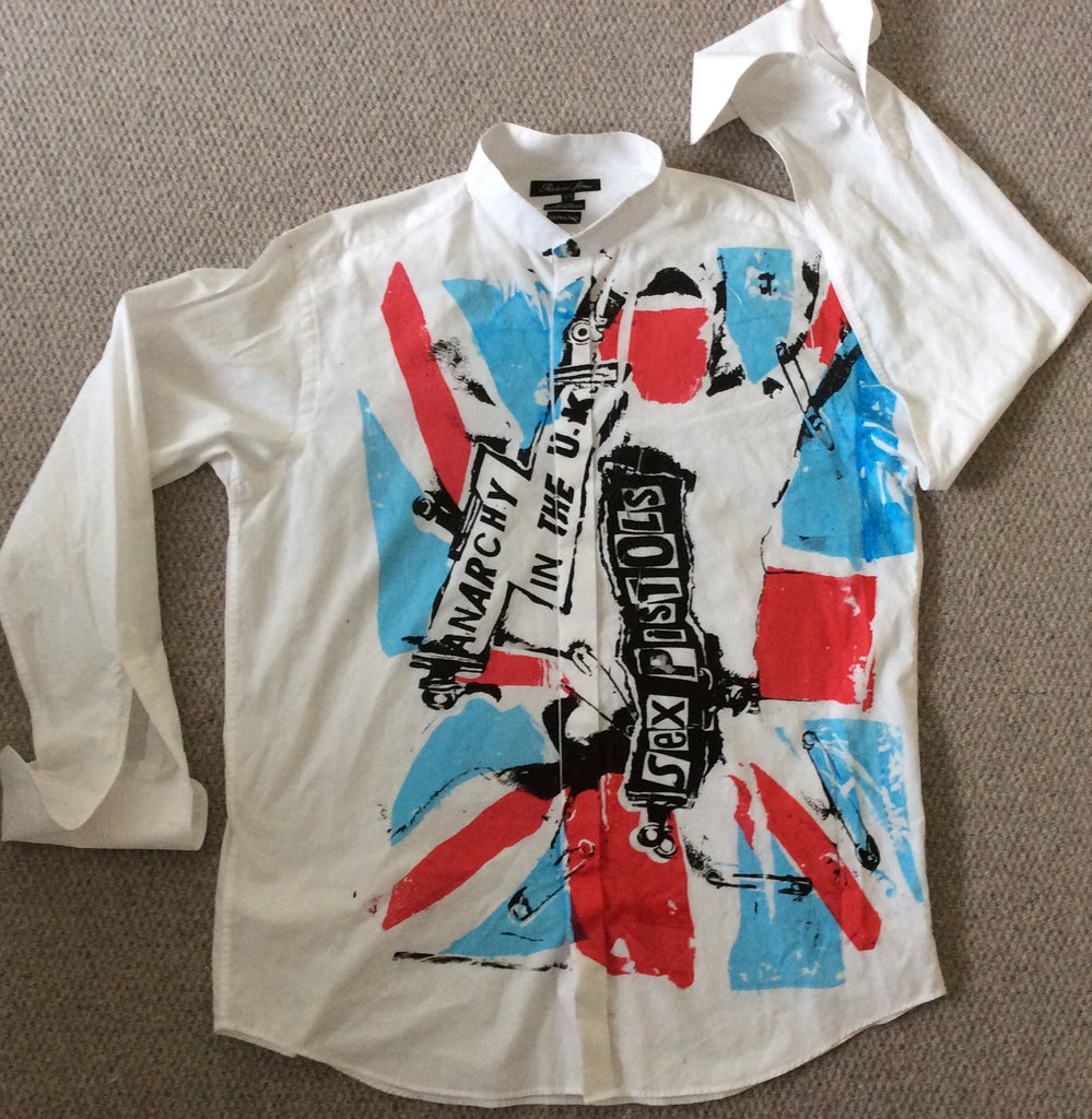 "Anarchy in the UK Sex Pistols Punk Flag Formal SHIRT XL 48"" Col 17.5"" Ex TALL"