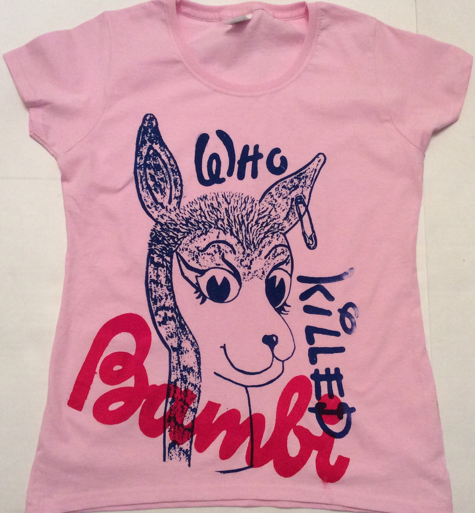 "Who Killed Bambi - Punk T-shirt - Pink fitted 34"" - 36"" - 38"""