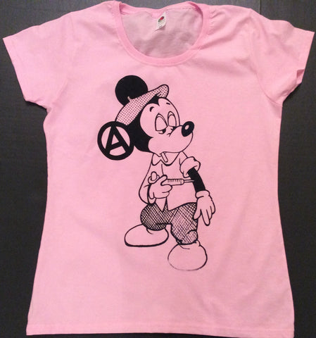 "Mickey Mouse Junkie Drug Fix Punk T-shirt pink womens 34""-36"""