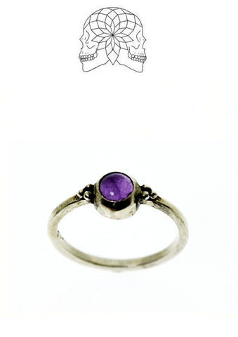 Vintage Sterling Silver Amethyst Solitaire