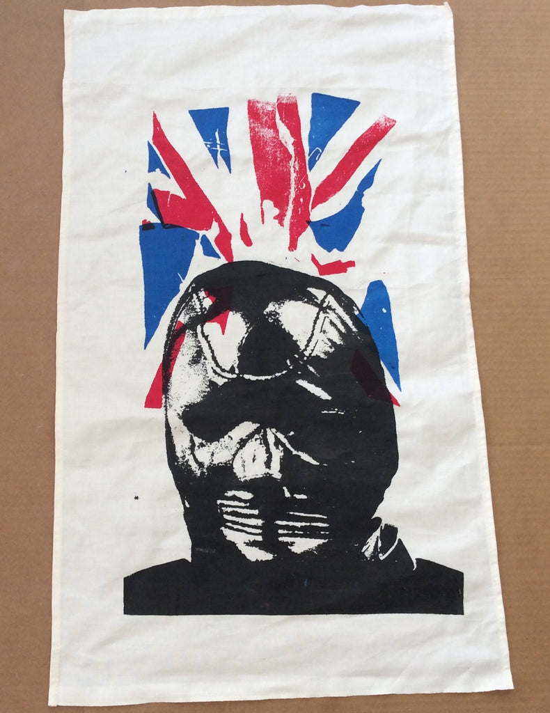 Seditionaries GIMP MASK Tea Cloth - Cambridge Rapist Union Jack Flag Punk Wall Hanging