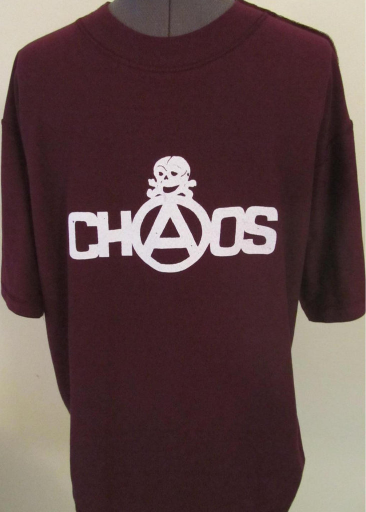 Chaos Skull Punk inside-out T-Shirt - Burgundy- Med 38""