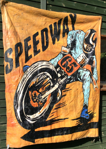 Motorcycle Speedway Sign Vintage 70s Original Painted Racing Banner 6ft x 5ft