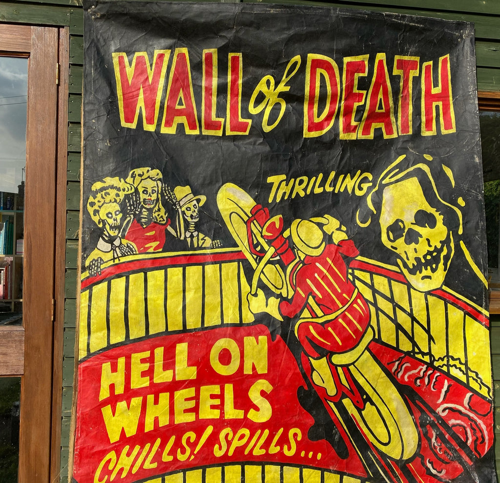 SOLD Vintage Circus Banner Motorbike WALL OF DEATH Big Size 6ft x 5ft SOLD