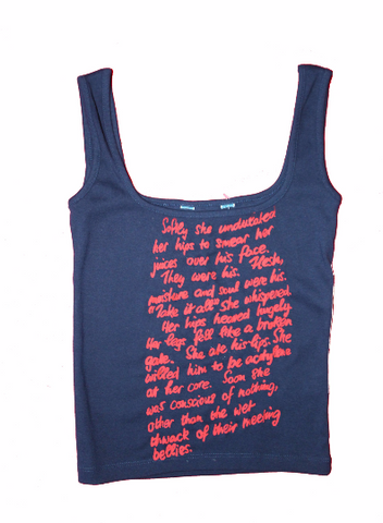 Erotic Sex Text Vest Top 'Softly she undulated...'