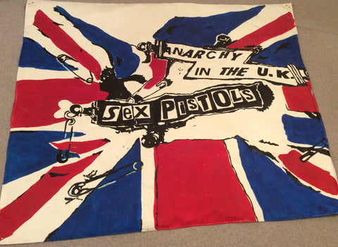 Punk Flag BANNER Sex Pistols Anarchy in the UK Painted Art Canvas Big Size 5ft x 6ft