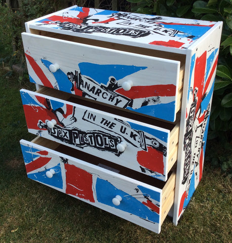 Punk Union Jack Flag Chest of Drawers Sex Pistols Anarchy in the UK Furniture