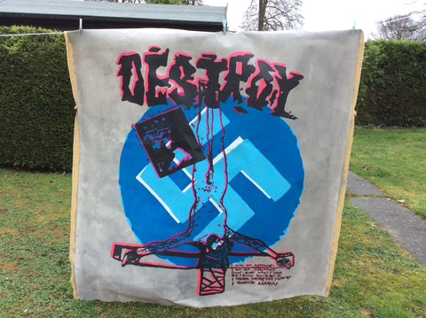 "SOLD SOLDSeditionaries DESTROY BANNER Pistols Anarchy Punk Huge Painted Canvas 5ft 67""x63"""