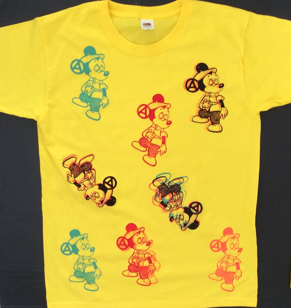 Mickey Mouse Junkie Tshirt Drug Fix punk yellow tee multi prints Small