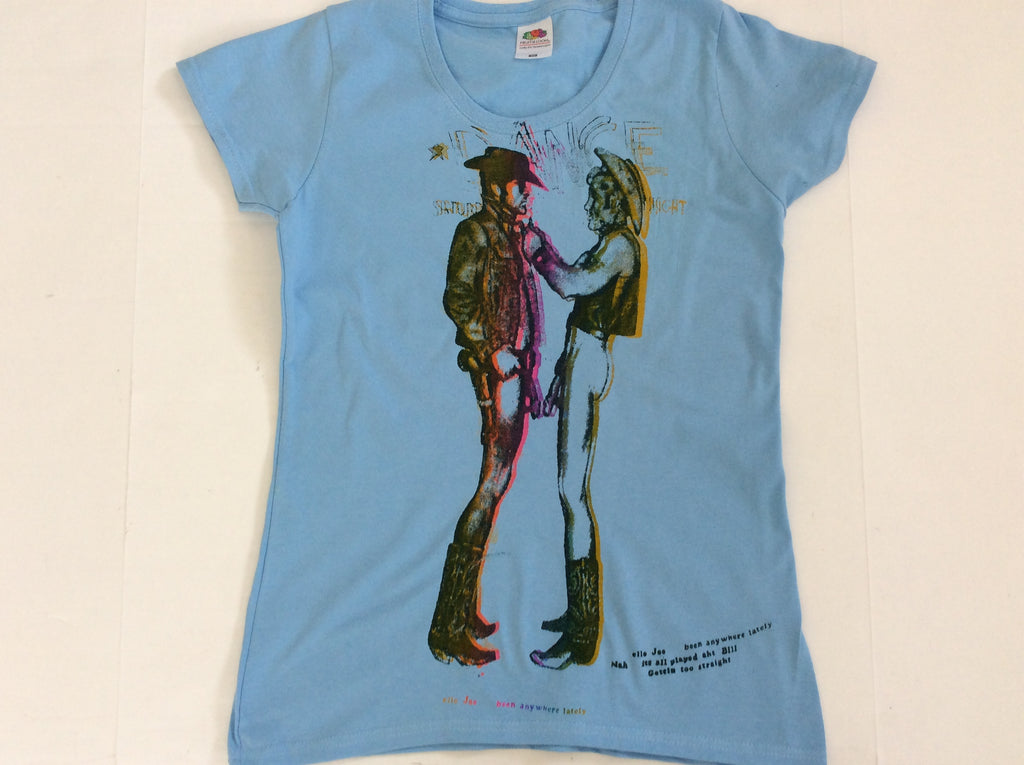 "Naked Cowboys - Light Blue Punk T-shirt fitted 32""-34"""