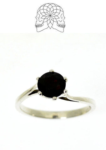 Sterling Silver Garnet Solitaire