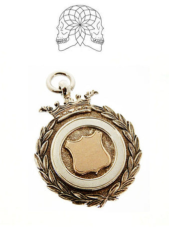 Vintage Sterling Silver Crown Fob Pendant - c. 1930
