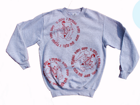 Honi Soit Threesome Sex Punk Sweatshirt - Grey Jumper