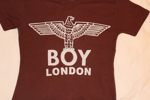 BOY London Print Brown V neck T-shirt