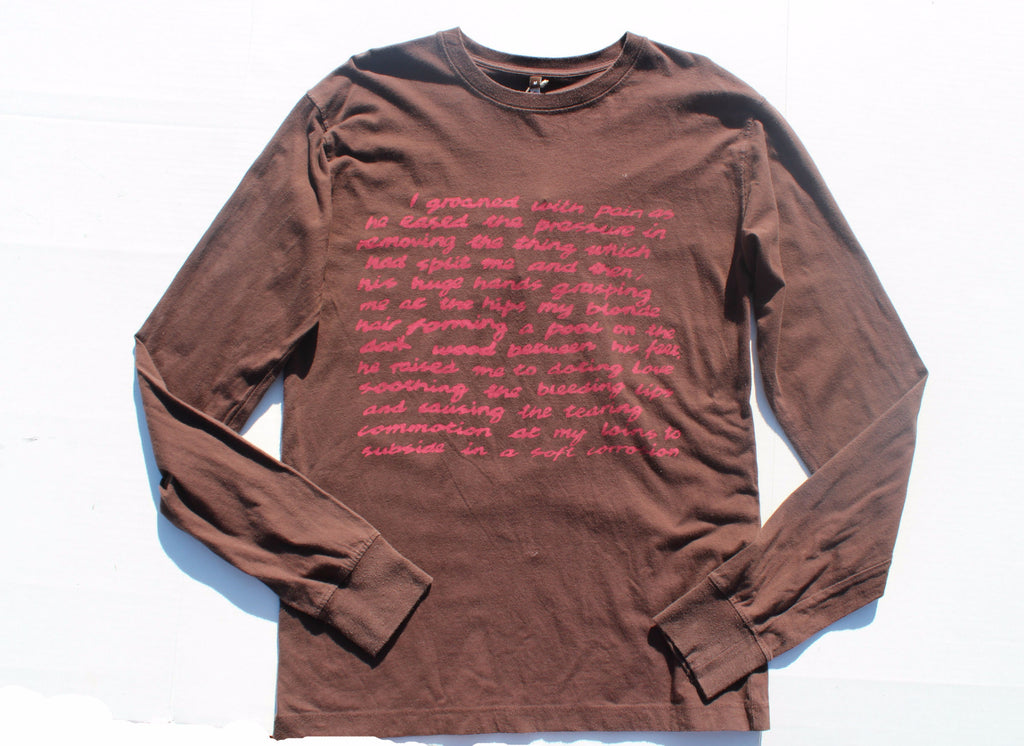 I Groaned in pain...'Sex Text' Brown Long-sleeve Top