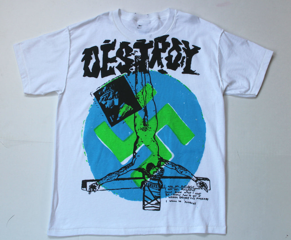 Seditionaries DESTROY T Shirt -Blue & Neon Green Sm 36""