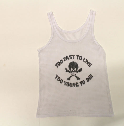 Too Fast To Live / Skull - punk print Fishnet Vest