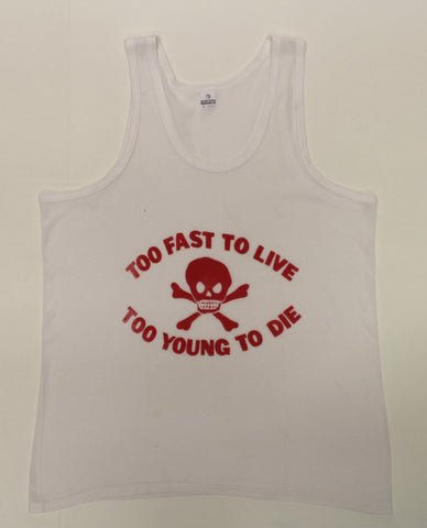 Too Fast To Live / Skull - punk print Fishnet Vest-XL