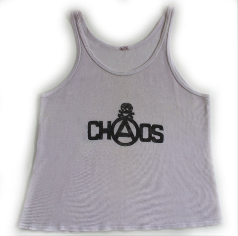 CHAOS- punk print Fishnet Vest - White XL