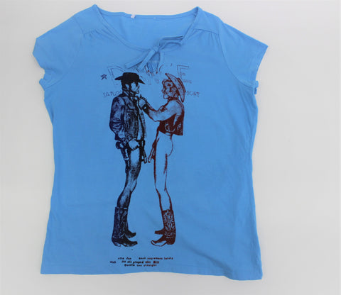 Seditionaries Naked Cowboys - Light Blue Ladies Fit Punk T-shirt
