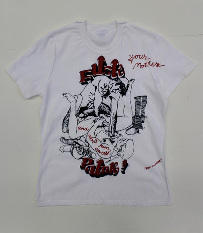 "Fuck Punk Orgy print  T-Shirt  Small 34-36""  (nsfw)  inside out"