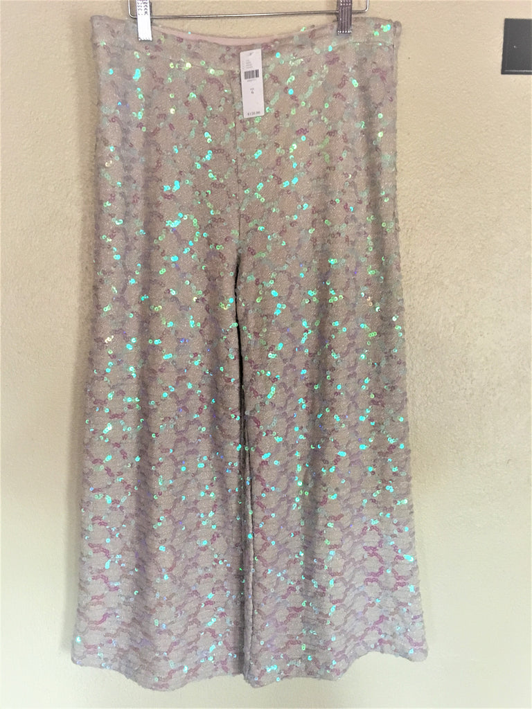 Sequin Embellished Wide Leg Pants - Anthropologie - Glitter Trousers