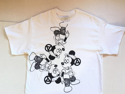Mickey Fix Punk T-shirt - Multi Print White tee