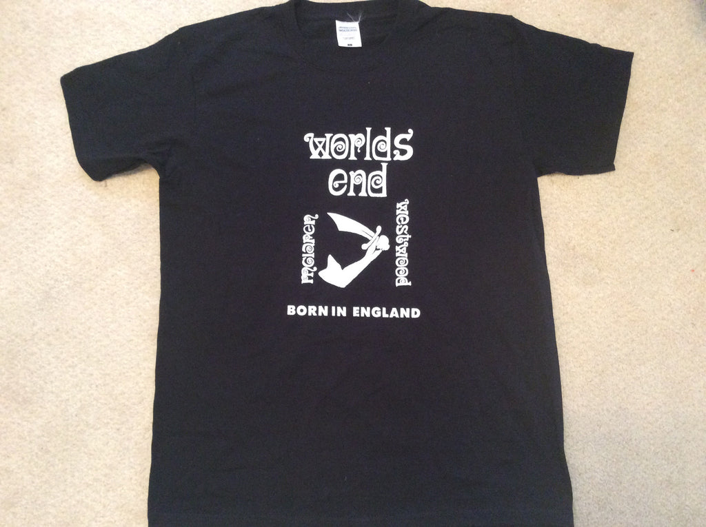 Worlds End Punk T-shirt Westwood McLaren Born in England Black Tee