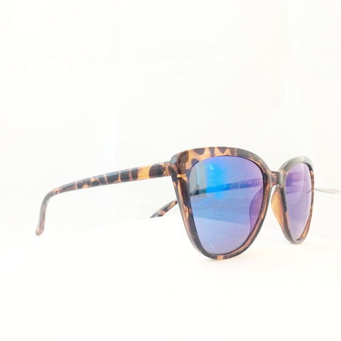 Cat Eye Sunglasses - Tortoiseshell / Blue Mirror