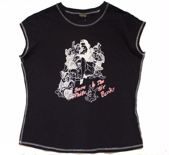 "Snow White and the Sic Punks T-shirt -Navy M-L 38""-40"""