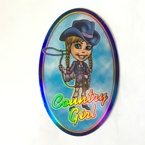 Country Girl Sticker - Retro Glitter Holographic Large Oval Stickers