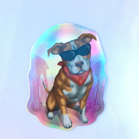Pitbull Retro Dog Sticker - Metallic Reflective- 'Dawgs' by Steve Nazar