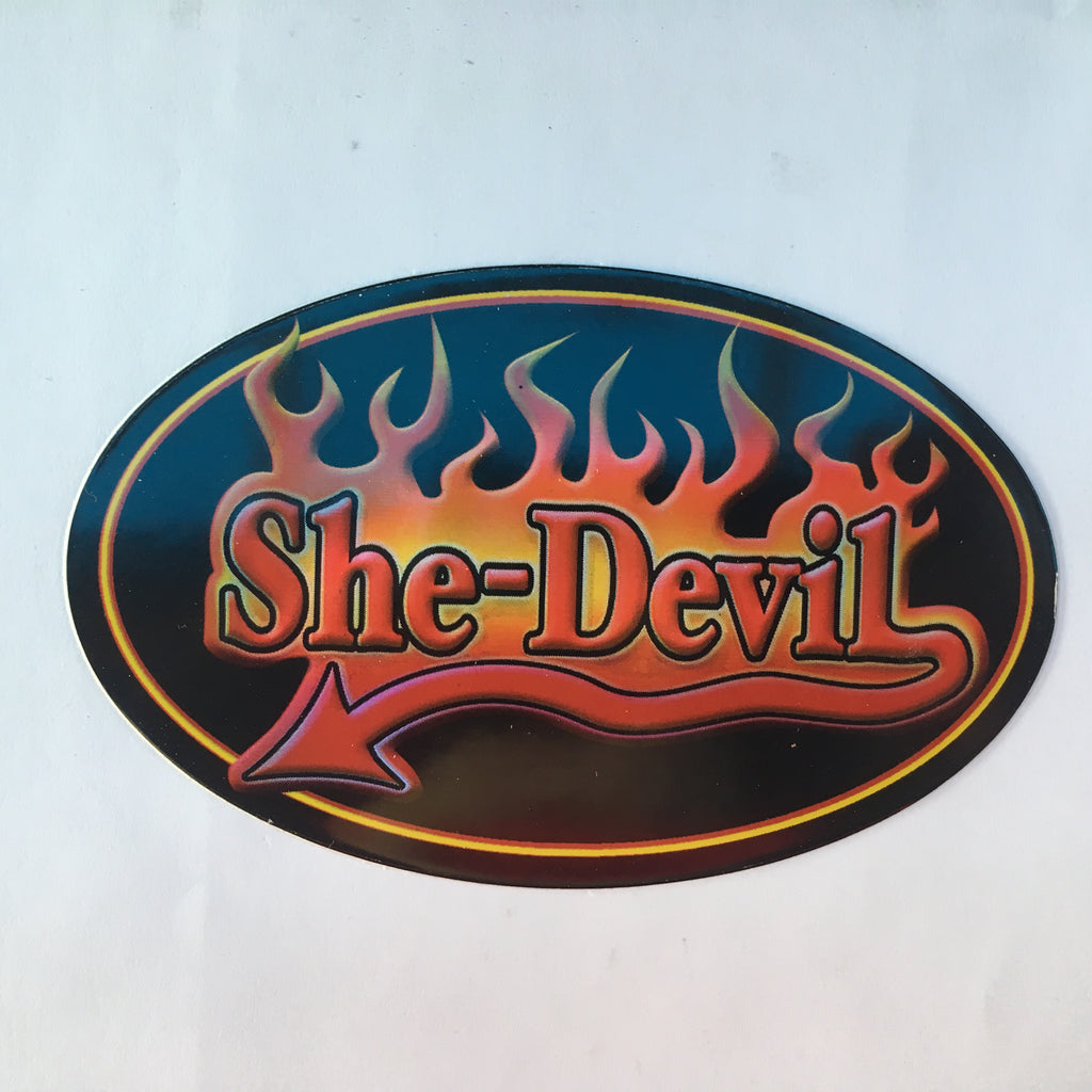She Devil- Flames Novelty Retro Slogan Sticker - Metallic Shine Large Oval