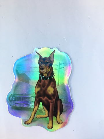 Doberman Retro Dog Sticker - Metallic Reflective- 'Dawgs' by Steve Nazar