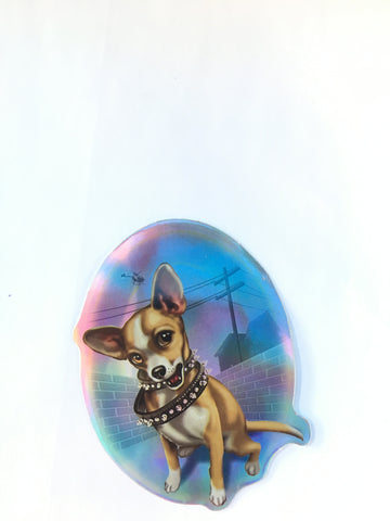 Hood Chihuahua Retro Dog Sticker - Metallic Reflective- 'Dawgs' by Steve Nazar