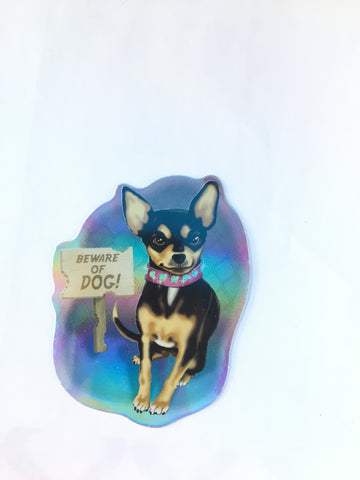 Beware Chihuahua Retro Dog Sticker - Metallic Reflective- 'Dawgs' by Steve Nazar