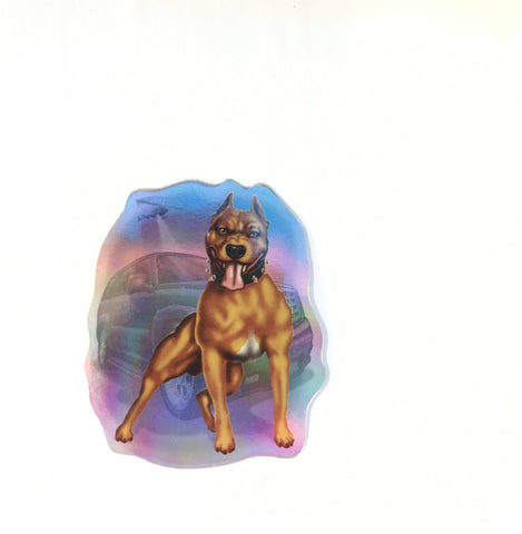 Retro Guard Dog Sticker - Metallic Reflective- 'Dawgs' by Steve Nazar