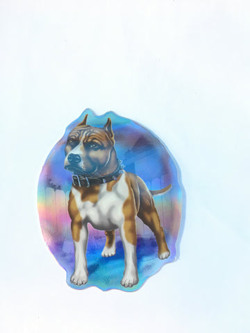 Retro Dog Sticker Staffy - Metallic Reflective- 'Dawgs' by Steve Nazar