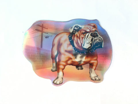 Fresno Bulldog Retro Dog Sticker- Metallic Reflective- 'Dawgs' by Steve Nazar