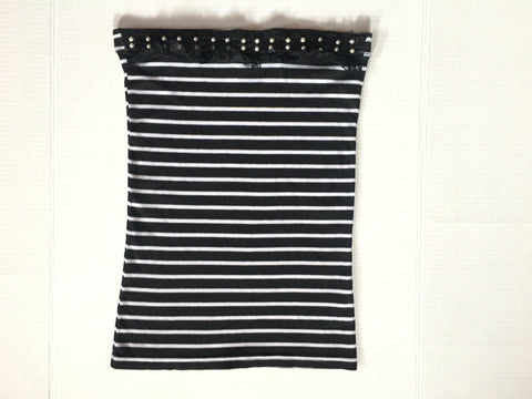 Retro Tube Top - Monochrome Black White Striped Embellished Boob Tube