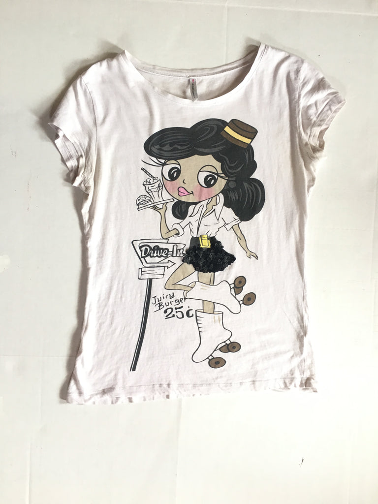 Retro Diner Cartoon Sequin Embellished White T-Shirt