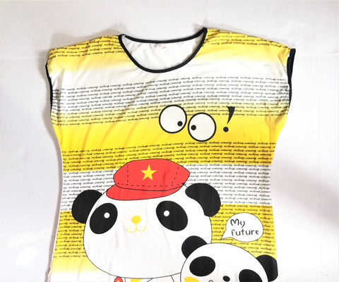 Kitsch Retro Pandas Oversize T-Shirt -Bootleg Misprint Novelty Tee Dress