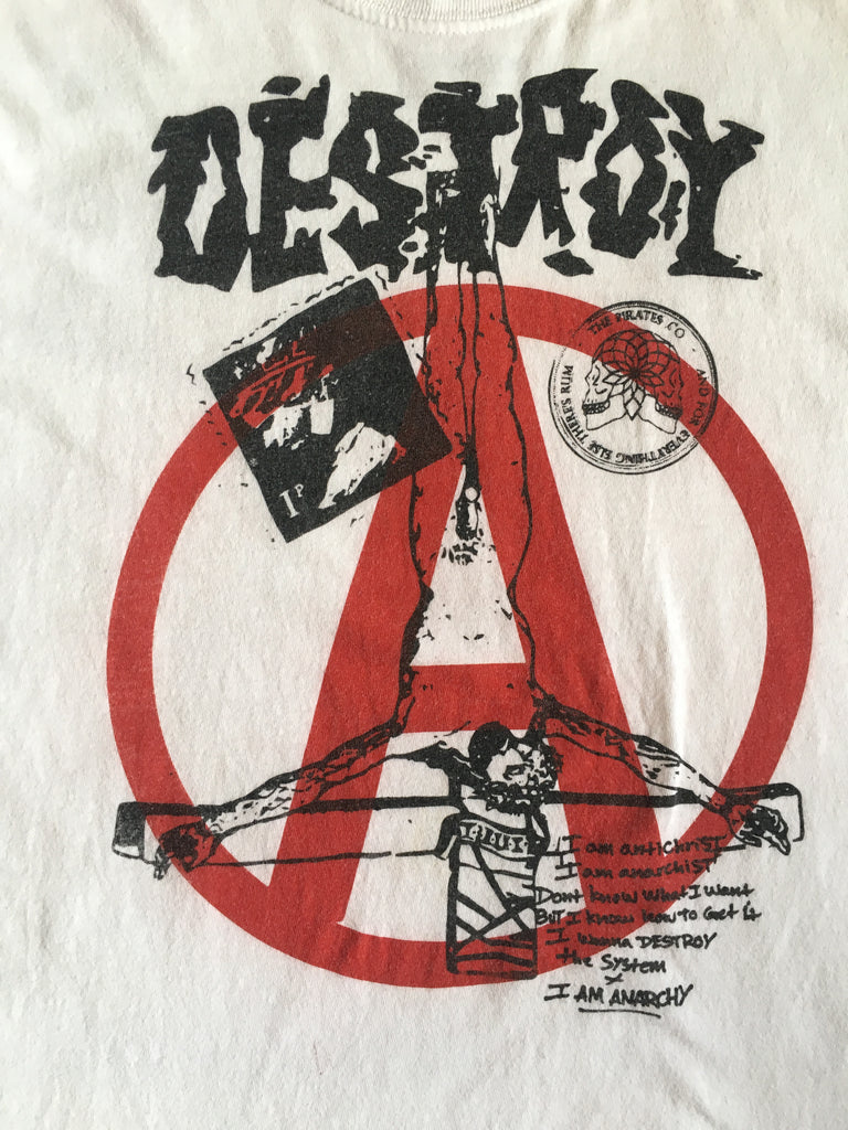 DESTROY Anti-Establishment Punk Logo T-Shirt - Pirates Edition