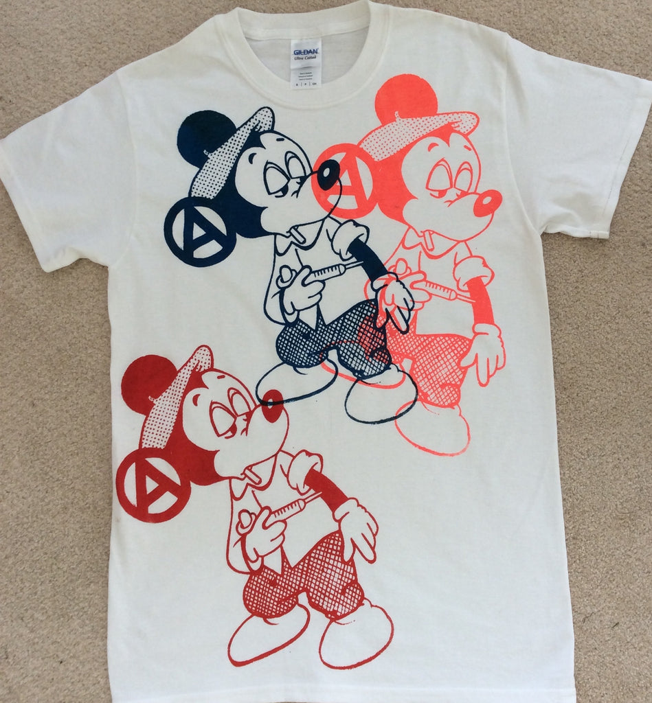 Mickey Mouse Drug Fix - Anarchy Cartoon Punk multi print T-shirt